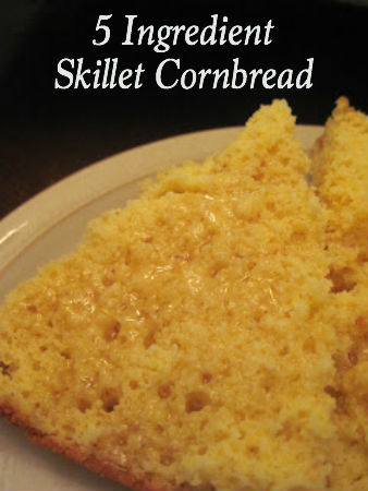 You'll love this 5 Ingredient Skillet Cornbread not only because it's super easy to make, but because it is moist, sweet and yummy! Stop by for the recipe!