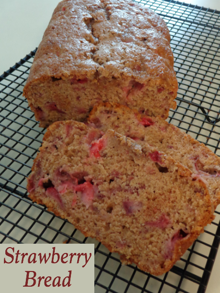 Who needs zucchini bread, when you can make Strawberry Bread! I love how super simple this recipe is to make. You'll have a loaf in the oven in under 15 minutes. The best way to eat it is warm with a dollop of butter!