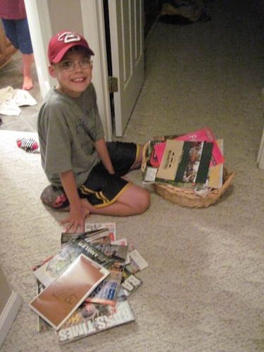joel sorting magazines