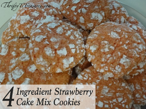You'll have these 4 Ingredient Strawberry Cake Mix Cookies in the oven in a jiffy! Grab your cup of milk and enjoy the yumminess!