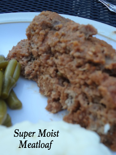 This meatloaf is super moist and the best I've ever had! It's not the prettiest slice of meatloaf, but it's yummy!