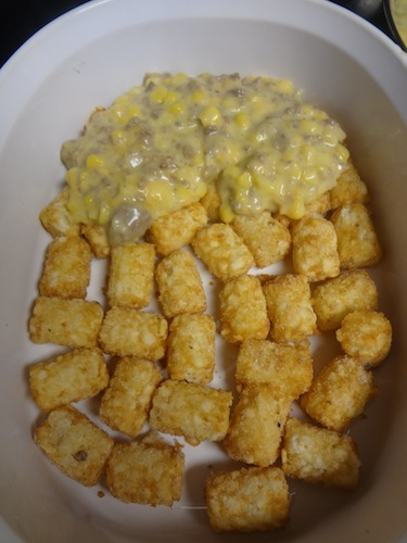 tator tots topped with ground turkey mixture