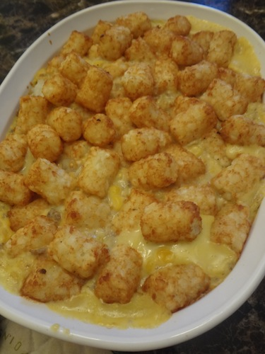 cooked casserole topped with tator tots