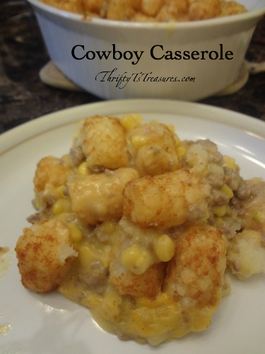 ground turkey casserole topped with tator tots