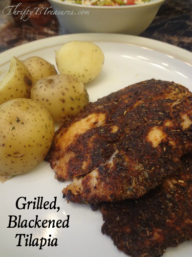 This Grilled, Blackened Tilapia is one of our favorite easy dinner recipes on the grill! It's as simple as mixing together 6 spices and melting butter!