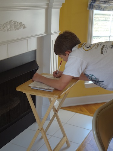 jacob writing in thankful book