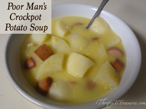 Poor Man's Crockpot Potato Soup - After looking for the perfect soup recipe, I decided to make my own with items I had on hand.