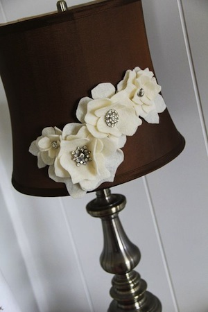 felt flowers on lamp