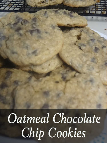 Mini Chocolate Chips paired with oatmeal and cinnamon make a tasty combination for these Oatmeal Chocolate Chip Cookies!