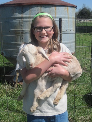 elizabeth holding goat