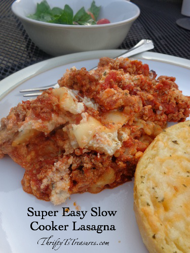This Super Easy Slow Cooker Lasagna is one of my favorite crockpot recipes. Once you make this recipe you won't go back to the old way of making lasagna! You'll definitely want to add this to your list of easy dinner recipes!
