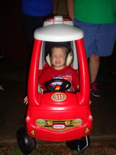 cole in bubble car