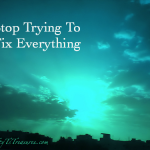 Stop Trying To Fix Everything