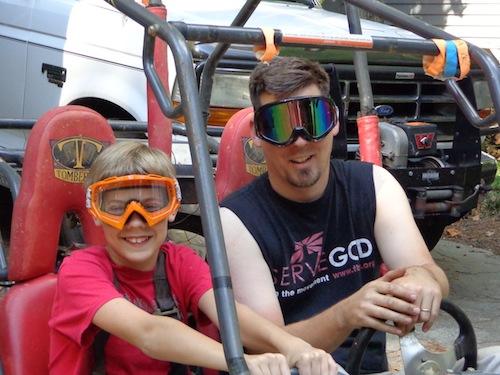 joel and nathan on go-kart
