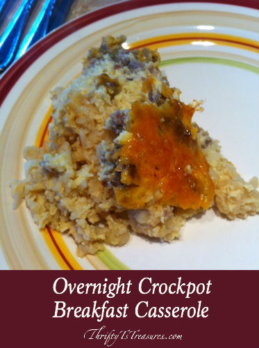 Wake up to the smell a country breakfast (hashbrowns, eggs, and sausage) when you create this Overnight Crockpot Breakfast Casserole!