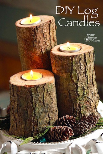 diy log candles