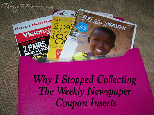 I'm sharing why I stopped collecting the weekly newspaper coupon inserts! I still use coupons, but don't collect the inserts! Stop by and see why!