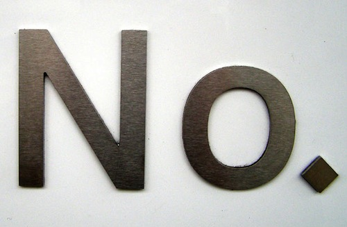 block letters of the word no