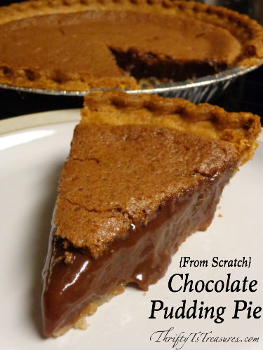 From Scratch} Chocolate Pudding Pie - Thrifty T's Treasures