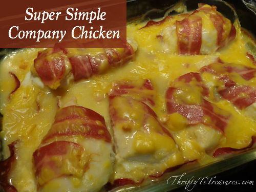 With only 5 ingredients, you'll have this Super Simple Company Chicken in the oven in under 15 minutes!