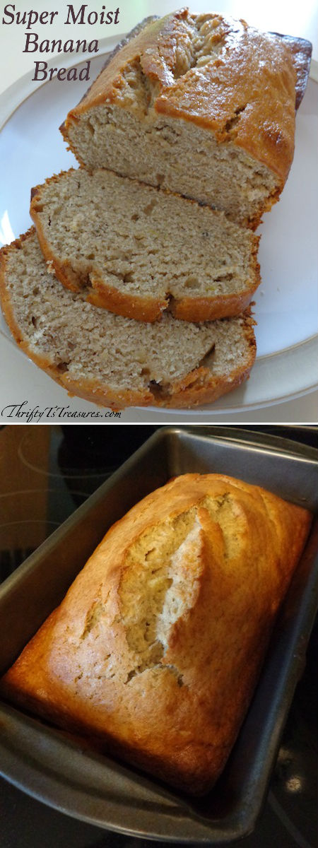 collage of pictures - banana bread on a plate with two slices cut and loaf of cooked banana bread in bread pan