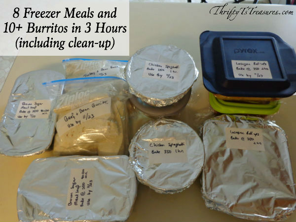 8 Freezer Meals + Burritos