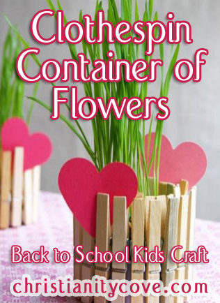 Clothespin Container of Flowers