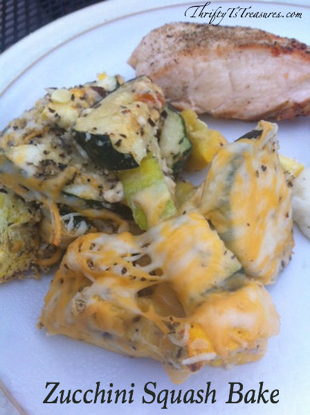 plate with a piece of chicken and Zucchini Squash Bake