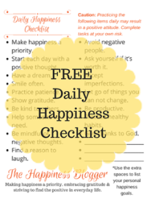 Free Daily Happiness Checklist