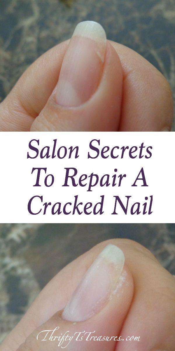 cracked nail and repaired nail