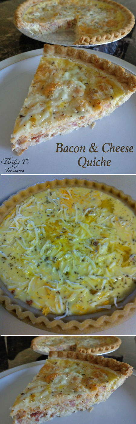 This Bacon and Cheese Quiche is not only fabulous for breakfast but is an easy dinner recipe too! Not only is it a super simple to make but it's also versatile and you can use your favorite meat!