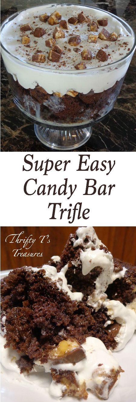 This Super Easy Candy Bar Trifle needs to make its way to the top of your easy desserts recipes. You'll fool your guests into thinking it took hours to make!