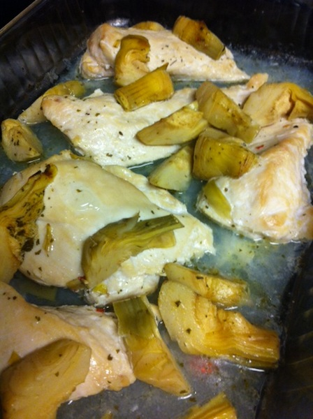 This Artichoke Chicken may not be the prettiest you've ever seen, but it's one of our favorite chicken recipes and easy dinner recipes! So yummy!