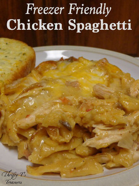 What do you get when you combine easy dinner recipes, chicken recipes, and freezer meals? This fab Freezer Friendly Chicken Spaghetti! You're gonna love it!