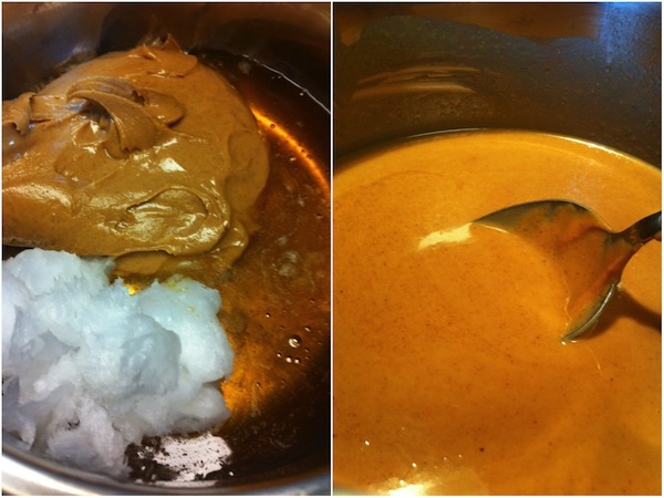 honey peanut butter and coconut oil melting in a pan