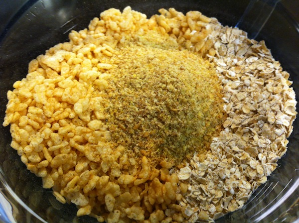 oatmeal Rice Krispies and flax seed in a pan