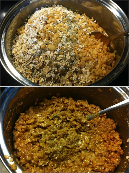 chewy granola bar ingredients being mixed in a pan