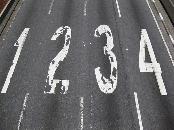 highway with number lanes - 1, 2, 3, 4