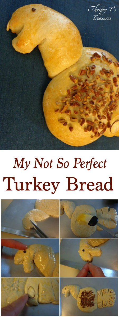 It may not be perfect, but I had a blast creating this Turkey Bread and you will too! It's the perfect Thanksgiving crafts or Thanksgiving decorations.