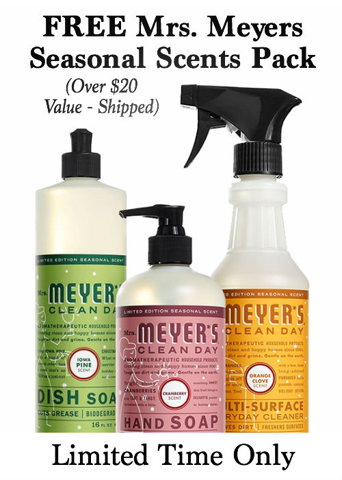 Stop by and learn how YOU can get a FREE Mrs. Meyers seasonal scents pack and score 8 items for only $2.73 each, shipped!