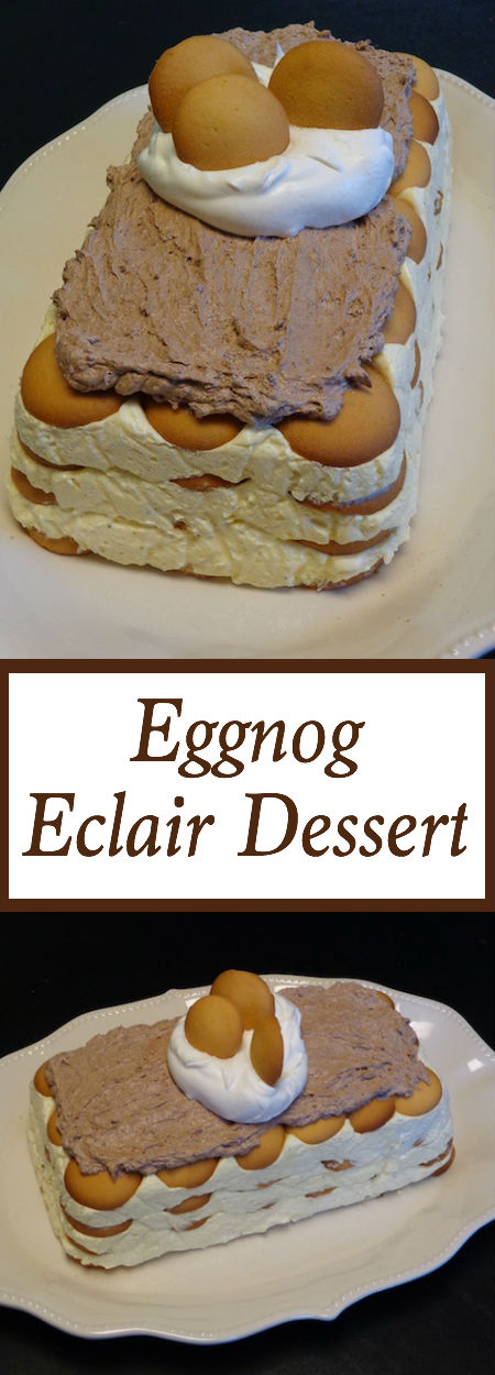 Put down the cookies and cupcakes and grab this Eggnog Eclair Dessert. It's made its way into my heart and onto my easy desserts recipes! Creamy eggnoggy pudding layered with vanilla wafers and topped with creamy chocolate...yes please!