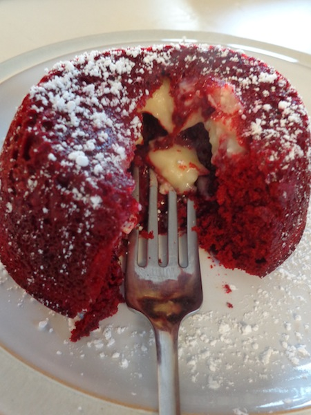 You won't want cookies and cupcakes when this Red Velvet Lava Cake is around. It's crazy fabulous food made with a cake mix and a few extra ingredients. It's easy desserts like this that make your mouth water with every bite!