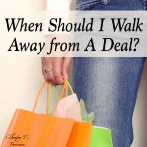 There are always fabulous deals and steals to snag, but I'm learning that one of the best ways to save money is to learn when to walk away from good deals. Keep your money and finances in order by checking out my tips!
