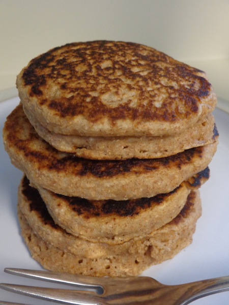 stack of four cinnamon applesauce pancakes