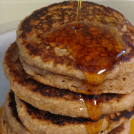 These mile-high Cinnamon Appleasauce Pancakes are the perfect breakfast or easy dinner recipes. They'll make you want to get in the kitchen and start cooking!