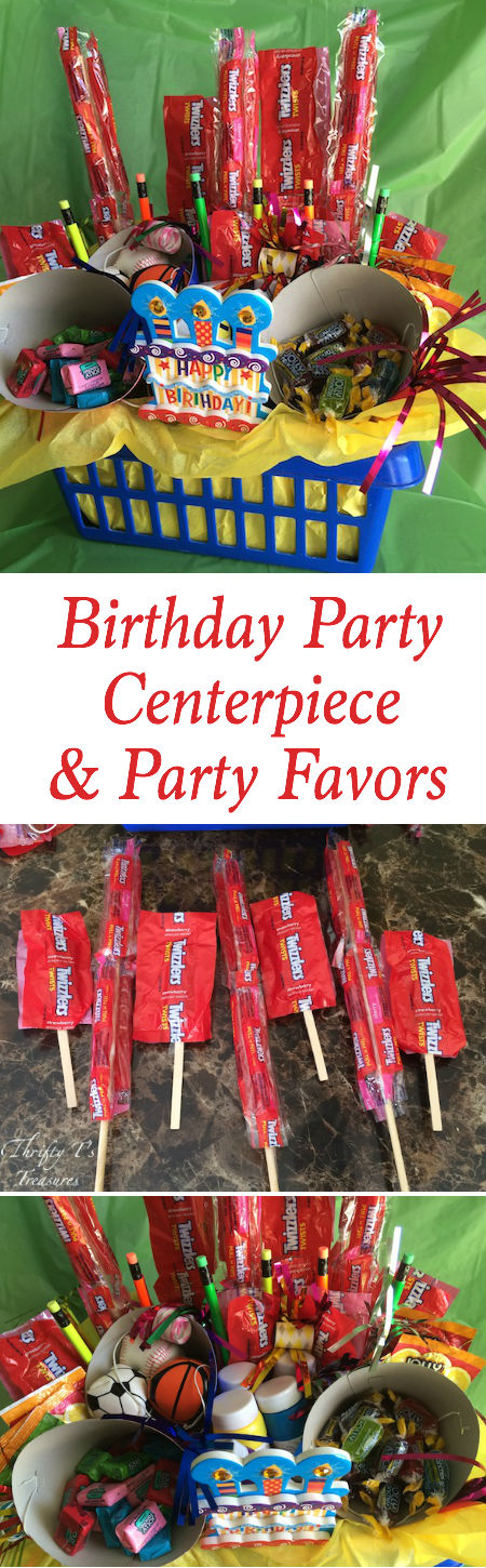 This DIY birthday party centerpiece also doubles as party favors! The only thing you'll need for your party is cupcakes (or a birthday cake) and gifts.