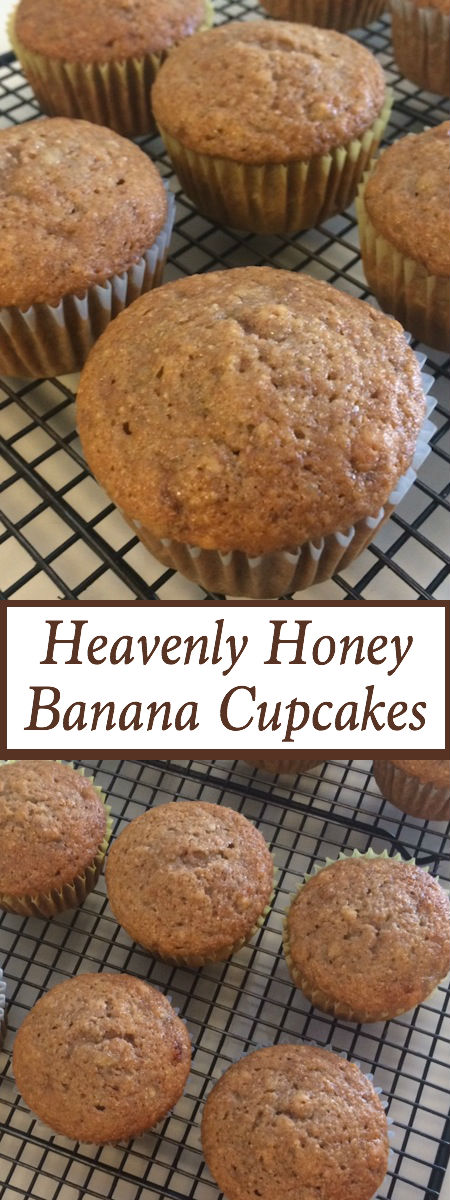 honey banana cupcakes on a wire cooling rack