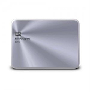 silver external hard drive