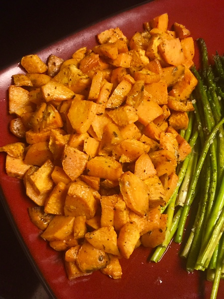 plate of roasted sweet potatoes and asparagus