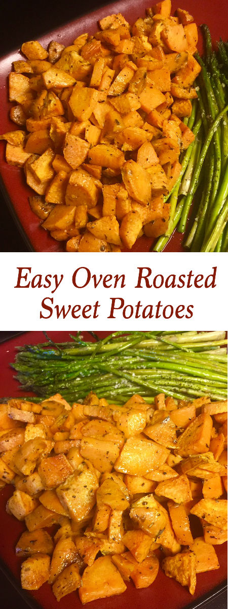 plate of oven roasted sweet potatoes